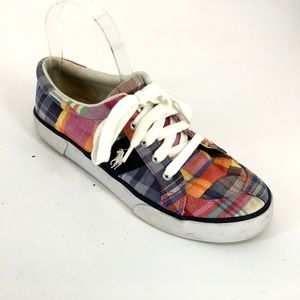 Polo Ralph Lauren Plaid Lace Up Low Tops Sneakers